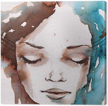 Winter, cold portrait Canvas Print