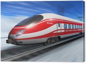 Canvas Print Winter high speed train