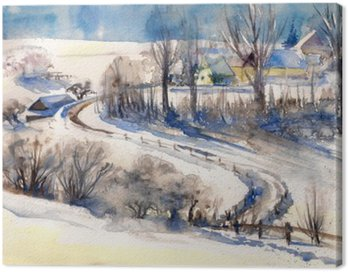 Winter landscape with road to village.Picture created with watercolors.