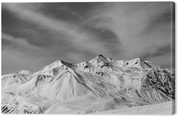 Canvas Print Winter snow mountains in windy day