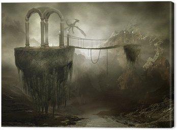 Canvas Print Wiszący most na latających skałach