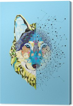 Wolf head in geometric pattern with star line vector Canvas Print