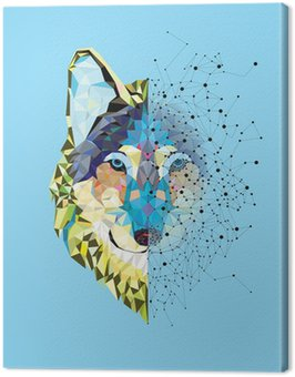 Canvas Print Wolf head in geometric pattern with star line vector