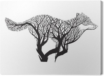 Canvas Print Wolf run silhouette double exposure blend tree drawing tattoo vector
