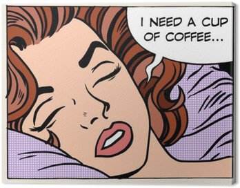 Canvas Print woman dreams morning cup coffee