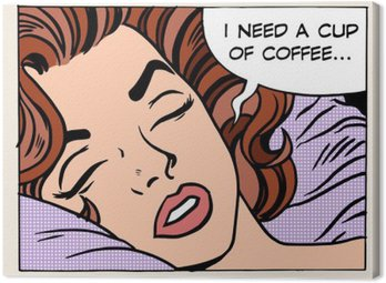 woman dreams morning cup coffee Canvas Print