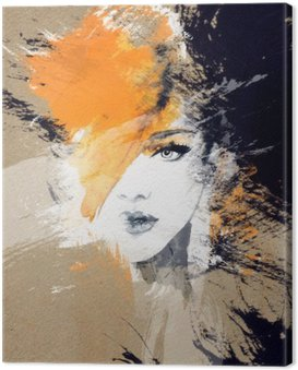 Canvas Print woman portrait .abstract watercolor .fashion background