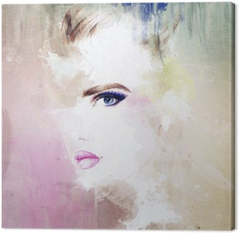 woman portrait .abstract watercolor .fashion background Canvas Print