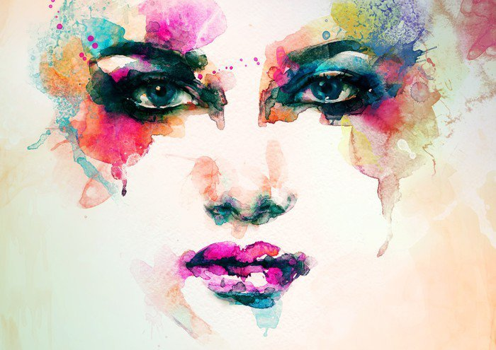 Canvas Print woman portrait .abstract watercolor .fashion background - People