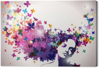 Woman with a butterflies in hair. Canvas Print