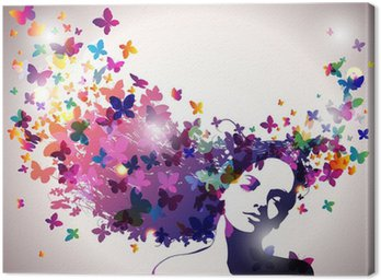 Canvas Print Woman with a butterflies in hair.