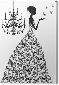 woman with butterflies, vector