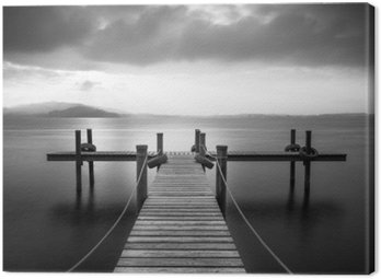 Canvas Print Wooden pier on the lake Zug, Switzerland. Long exposure. Black and White.