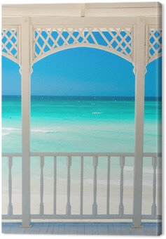 Canvas Print Wooden terrace with a view of a tropical beach in Cuba