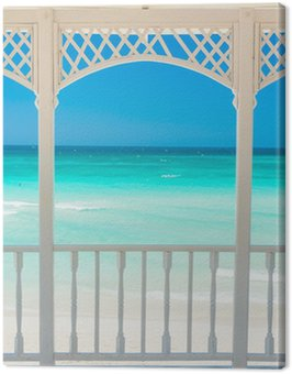 Wooden terrace with a view of a tropical beach in Cuba Canvas Print