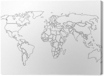 World map black contours only
