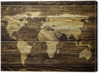 Canvas Print World map on wood background