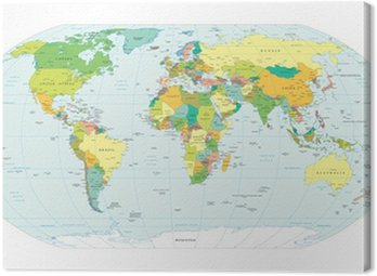 Canvas Print world map political boundaries