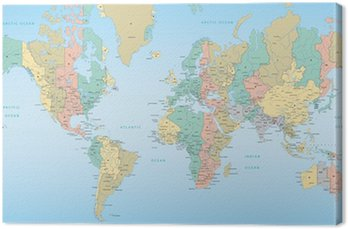 Canvas Print World map with Time Zones