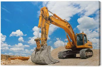 Canvas Print Yellow Excavator at Construction Site