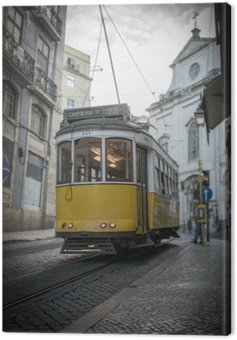 Canvas Print Yellow tramway in Lisbon