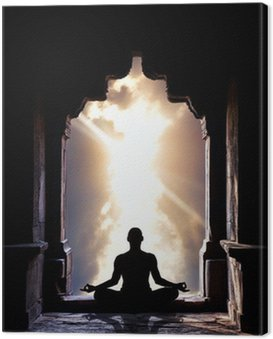 Yoga meditation in temple Canvas Print