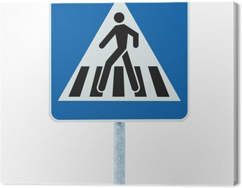 Canvas Print Zebra crossing pedestrian warning traffic sign blue isolated
