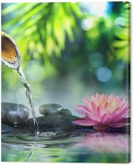 Canvas Print zen garden with black stones and pink waterlily