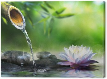 Canvas Print zen garden with massage stones and waterlily
