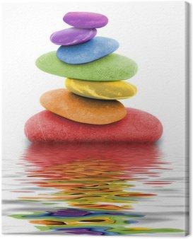 Canvas Print zen regenbogen kieselsteine im wasser