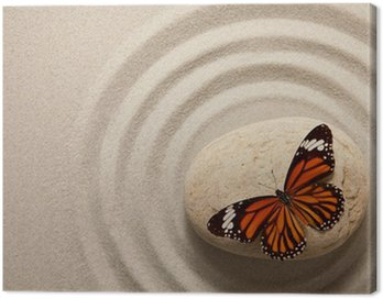 Canvas Print Zen rock with butterfly