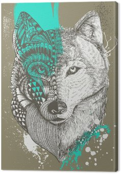 Zentangle stylized wolf with paint splatters, Hand drawn illustration Canvas Print