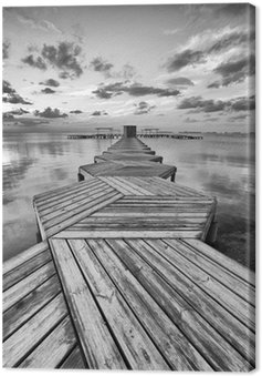 Canvas Print Zig Zag dock in black and white