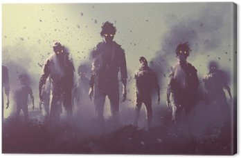 zombie crowd walking at night,halloween concept,illustration painting Canvas Print