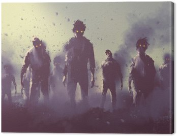 Canvas Print zombie crowd walking at night,halloween concept,illustration painting
