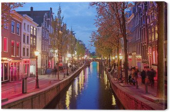 Canvas Red Light District in Amsterdam