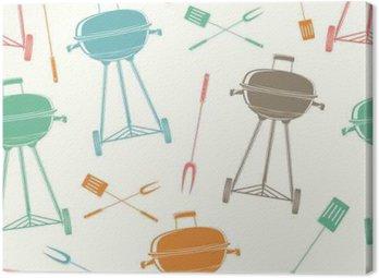 Canvas Retro BBQ grill, naadloos patroon.
