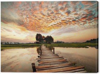 Canvas Rivier op zonsondergang