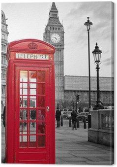 Canvas Rode telefooncel in Londen met de Big Ben in zwart en wit