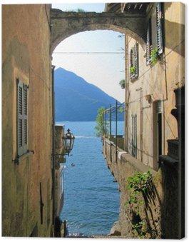 Canvas Romantisch uitzicht op de beroemde Italiaanse Comomeer van Varenna stad
