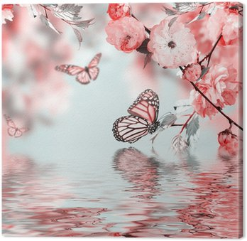 Canvas Roze bloem van een oosterse cherry in en vlinder