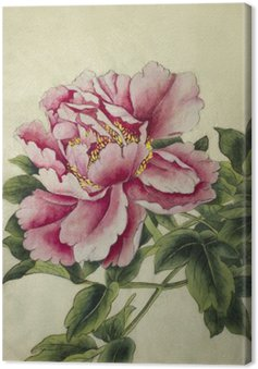 Canvas Roze pioen bloem