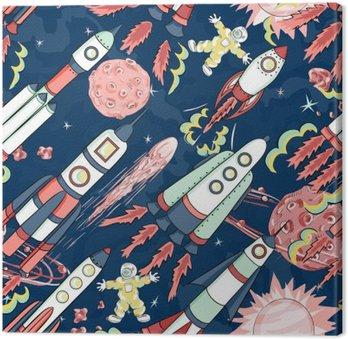 Canvas Ruimteschip naadloos patroon