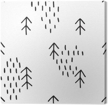 Canvas Scandinavische patroon met sparren. Naadloze winter patronen, met de hand getekend in zwarte inkt. Perfect voor gift het verpakken of het printen op stof. Naadloos minimale Kerst patroon.