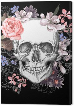 Canvas Schedel en Bloemen Dag van de Doden