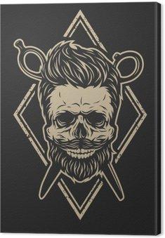 Canvas Schedel met een baard en een stijlvol kapsel.