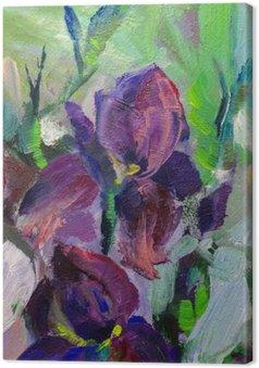 Canvas Schilderij stilleven schilderen met olieverf textuur, irissen impressionisme een