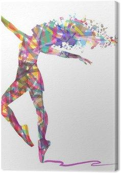 Canvas Silhouet van de ballerina samengesteld uit kleuren