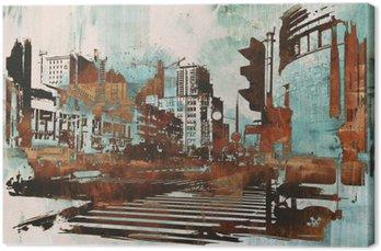 Canvas Stedelijke stadsgezicht met abstracte grunge, illustratie painting