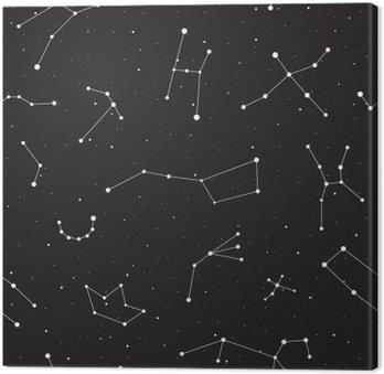 Canvas Sterrenhemel, naadloze patroon, achtergrond met sterren en sterrenbeelden, vector illustratie